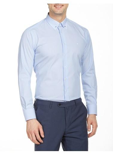 Bisse GM18Y82132 Regular Fit Çizgili İğneli Yaka Gömlek Mavi